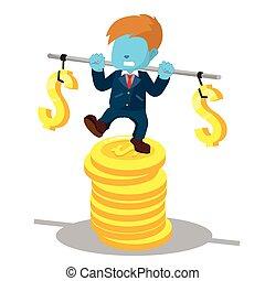blauwe , zakenman, stabiliseren, op, stapel, van, munt