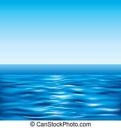 blauwe , zee, en, duidelijke lucht