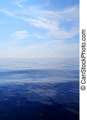 blauwe , zee, hemel, oceaanwater, kalm, horizon, scenics