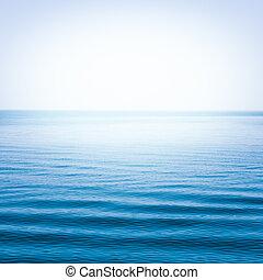 blauwe , zee, met, golven, en, duidelijk, blauwe hemel