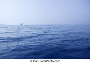 blauwe , zee, met, zeilboot, zeilend, de, oceaan,...