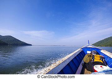 blauwe , zee, scheepje, zeilend