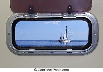blauwe , zeilboot, oceaan, zee, patrijspoort, scheepje,...