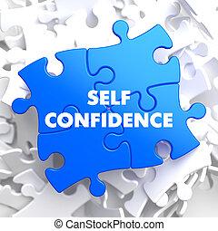 blauwe , zelfvertrouwen, puzzle.