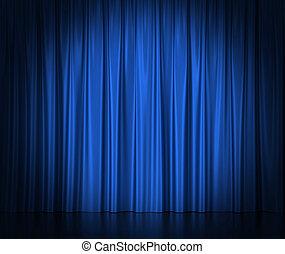 blauwe zijde, gordijnen, theater, bioscoop, licht, center., spotlit