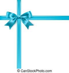 blauwe , zijdeachtig, boog, achtergrond., vector, wit lint