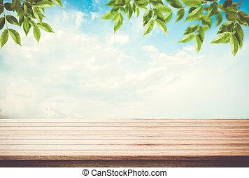 blauwe , zijn, gebruikt, ruimte, bladeren, hemel, lege, display, products., groenteblik, bureau, tafel, jouw, bovenzijde
