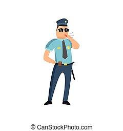 blauwe , zijn, politie, politieagent, mensen., pet, alledaags, uniform, presteert, beschermen, werken, badge, bril