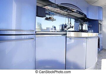 blauwe , zilver, keuken, moderne architectuur, versiering