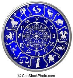 blauwe , zodiac, schijf, met, tekens & borden, en, symbolen