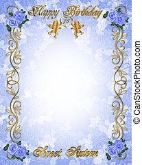 blauwe , zoet, jarig, uitnodiging, 16