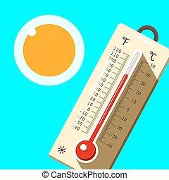 blauwe , zomer, hemel, symbool., warme, sun., vector., thermometer, dag