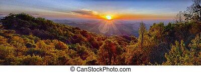 blauwe , zomer, kam, bergen, appalachian, ondergaande zon , snelweg