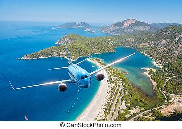 blauwe , zomer, op, vliegen, zee, eilanden, vliegtuig, zonopkomst