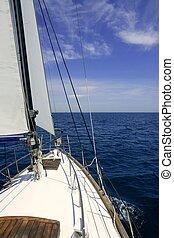 blauwe , zomer, zeilend, zeilboot, zonnig, zee, dag