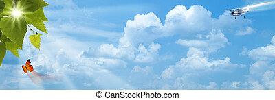 blauwe , zon, abstract, achtergronden, heldere hemelen