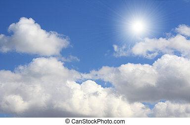 blauwe , zon, hemel