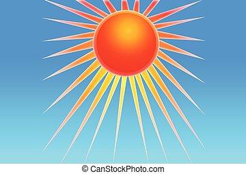 blauwe , zon, hemel, illustratie, logo