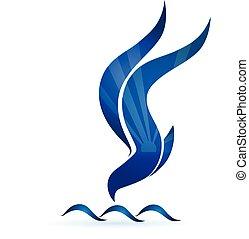 blauwe , zon, vector, golven, logo, vogel, pictogram