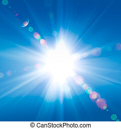 blauwe , zonnestralen, hemel, tegen