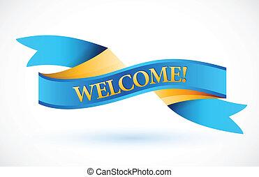 blauwe , zwaaiende , welkom, spandoek, lint