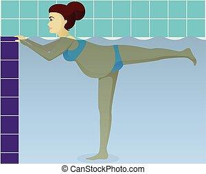blauwgroen, aerobics, zwangere
