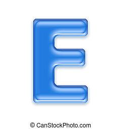 blauwgroen, brief, vrijstaand, op wit, achtergrond, -, e