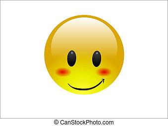 blauwgroen, emoticons, blozen, -, verlegen