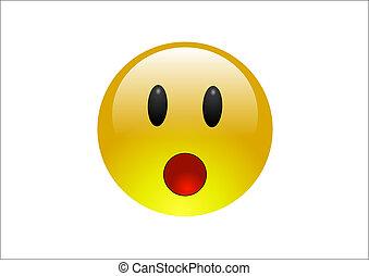 blauwgroen, emoticons, -, verrassing