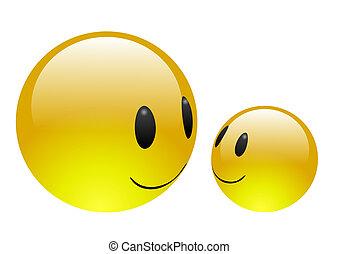 blauwgroen, emoticons, -, vriendschap