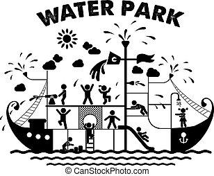 blauwgroen, vector, park, illustratie, plat