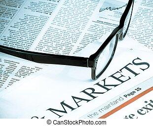 blauwoog, bril, dichtbij, woord, markten, zakelijk, en, financiën, concept