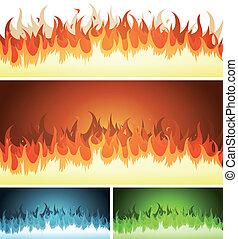 Blaze, Burning Fire And Flames Set - Illustration of a set...