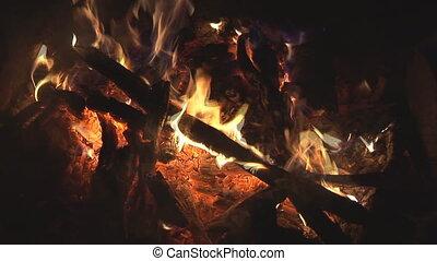 blaze in bonfire - blaze, fume and flames in bonfire close