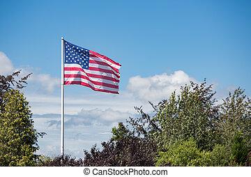 blazen, vlag, strepen, amerikaan, sterretjes, wind
