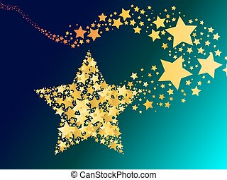 blazing abstract comet shooting gold star vector...