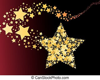 blazing abstract comet shooting gold star vector...
