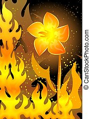 blazing background with fire flower