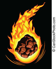An isolated vector of a comet blazing in fire. Good for many application, available as a Vector in EPS8 format that can be scaled to any size without loss of quality. The graphics elements are all can easily be moved or edited individually.