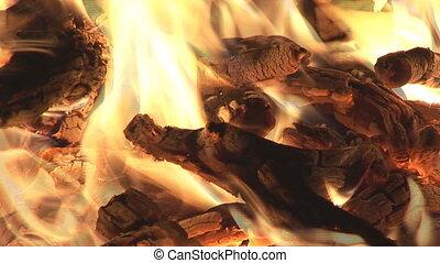 blazing flames close - blazing flames in bonfire closeup