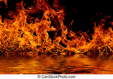 Blazing flames on black - Blazing flames with water...