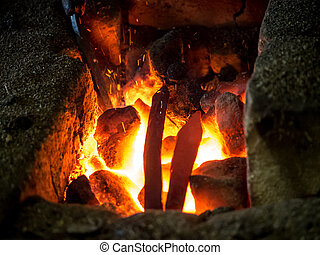 Blazing furnace at the blacksmith's - Blazing furnace...
