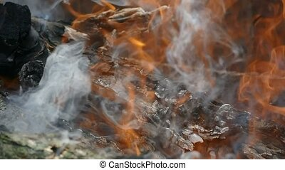 blazing log fire in slow motion video - log burns and smoke...