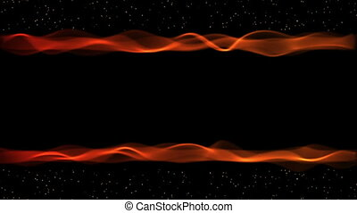 Blazing red stream, fire flame border with stars