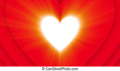 Blazing shining Valentine's Day heart on red background