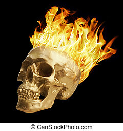 Golden skull with blazing fire