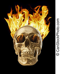 Blazing Skull - Golden skull with blazing fire