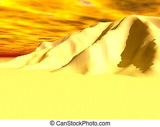 Blazing yellow skies and sand mountain