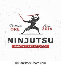blazoen, badge., kunst, ninja, ouderwetse , japanner,...