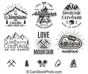 blazoen, berg, stijl, set, wandelende, elements., expeditie, isolated., ouderwetse , etiketten, patches, logos, silhouettes, wildernis, vector, ontwerp, retro, beklimming, letterpress, emblems, bergen